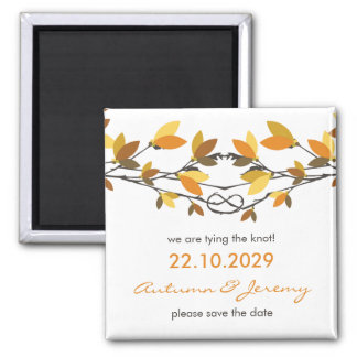 fatfatin Autumn Knotted Love Trees Save The Date 2 Inch Square Magnet