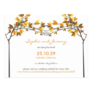 fatfatin Autumn Knotted Love Trees Save The Date Postcard