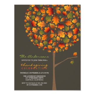 fatfatin Autumn Leaves Pop Tree Thanksgiving 4.25x5.5 Paper Invitation Card