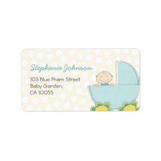 fatfatin Baby Boy Blue Pram Address Labels