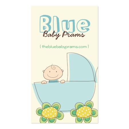 Cute Baby Boy in Blue Pram with Floral Wheels Baby Related Business Cards