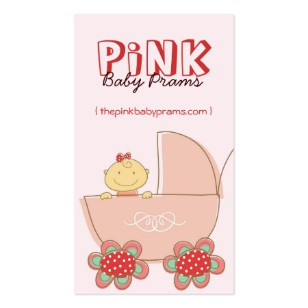 Cute Baby Girl in Pink Pram Baby Store Business Cards