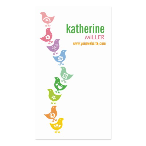 fatfatin Balancing Retro Rainbow Chicks Profile Business Card Template
