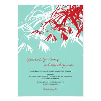 fatfatin Bamboo Leaves Aqua Red Wedding Invite