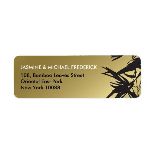 fatfatin Bamboo Leaves Black Gold Address Label Return Address Labels
