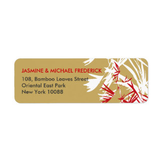fatfatin Bamboo Leaves Brown Wedding Address Label