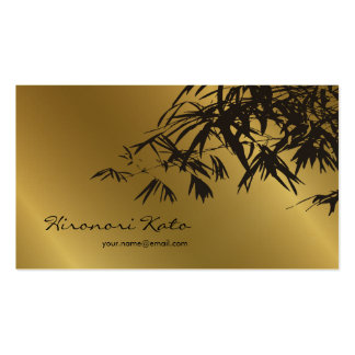 fatfatin Bamboo Leaves Gold Black Zen Profile Card Business Card Template