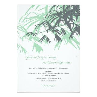 fatfatin Bamboo Leaves Green Blue Wedding Invitati 5x7 Paper Invitation Card