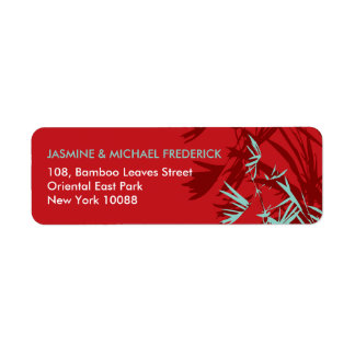 fatfatin Bamboo Leaves Red Blue Address Label