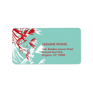 fatfatin Bamboo Leaves Red Blue Address Labels