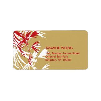 fatfatin Bamboo Leaves Red Tan Address Labels