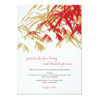 fatfatin Bamboo Leaves Red Tan Wedding Invite