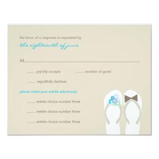"fatfatin Beach Aqua Flip Flops Wedding RSVP Card 4.25"" X 5.5"" Invitation Card"