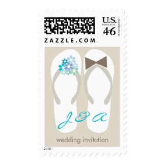 fatfatin Beach Aqua Flip Flops Wedding Stamps