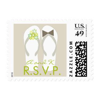 fatfatin Beach Green Flip Flops RSVP Stamps