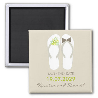 fatfatin Beach Green Flip Flops Save The Date 2 Inch Square Magnet