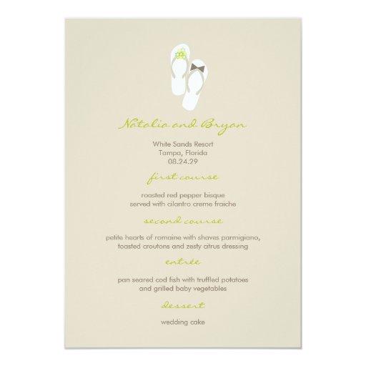 fatfatin Beach Green Flip Flops Wedding Menu Card