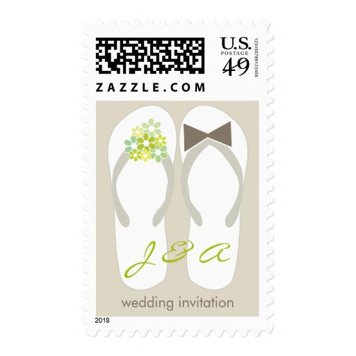 fatfatin Beach Green Flip Flops Wedding Stamps