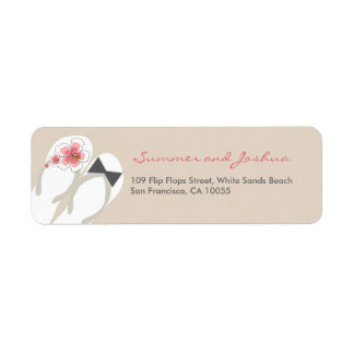fatfatin Beach Hibiscus Flip Flops Address Label