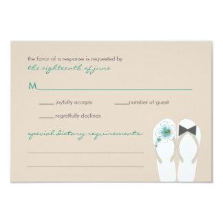 fatfatin Beach Hibiscus Flip Flops Wedding RSVP Ca 3.5x5 Paper Invitation Card