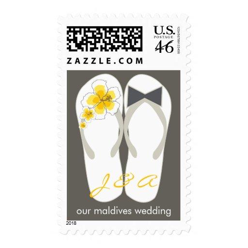 fatfatin Beach Hibiscus Flip Flops Wedding Stamps