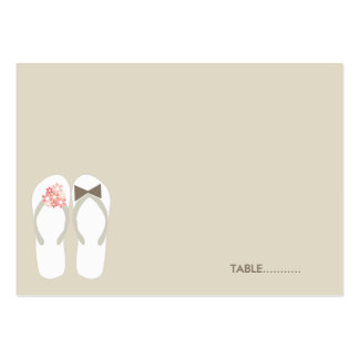 fatfatin Beach Pink Flip Flops Guest Place Card Large Business Cards (Pack Of 100)