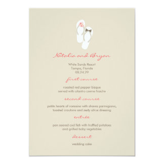 fatfatin Beach Pink Flip Flops Wedding Menu Card