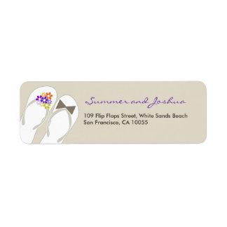 fatfatin Beach Purple Flip Flops Address Label