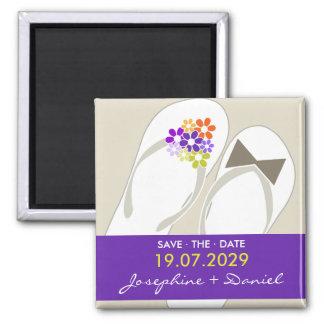 fatfatin Beach Purple Flip Flops Save The Date 2 Inch Square Magnet