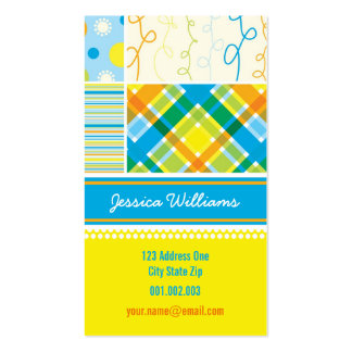 fatfatin Blue Combo Pattern Profile Card Double-Sided Standard Business Cards (Pack Of 100)