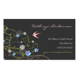 fatfatin Blue Hibiscus Swirls & Swallows Double-Sided Standard Business Cards (Pack Of 100)