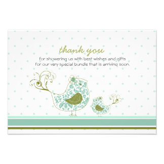 fatfatin Blue Swirly Mom & Baby Bird Thank You Invite