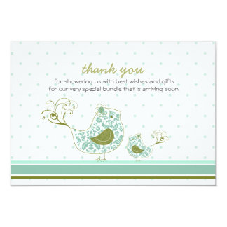 "fatfatin Blue Swirly Mom & Baby Bird Thank You 3.5"" X 5"" Invitation Card"