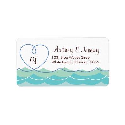 fatfatin Blue Waves Loopy Heart Address Label