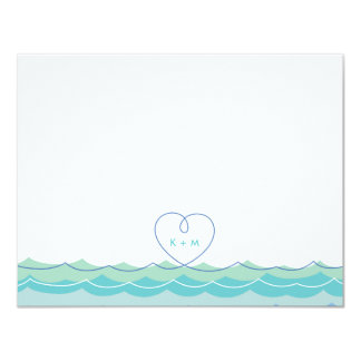 "fatfatin Blue Waves Loopy Heart Thank You Card 4.25"" X 5.5"" Invitation Card"