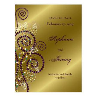 fatfatin Boho Purple Spirals Gold Save The Date Postcard