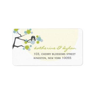fatfatin Cherry Blossoms Love Birds Address Label Custom Address Labels