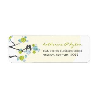 fatfatin Cherry Blossoms Love Birds Address Label Return Address Labels