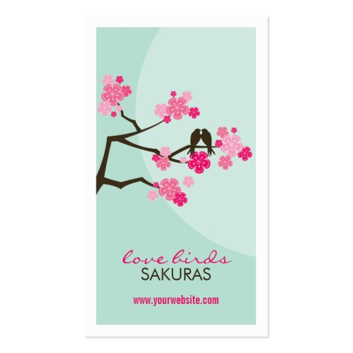 fatfatin Cherry Blossoms Love Birds Profile Card Business Card