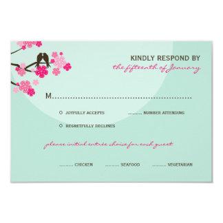 fatfatin Cherry Blossoms Love Birds RSVP Card Personalized Invites