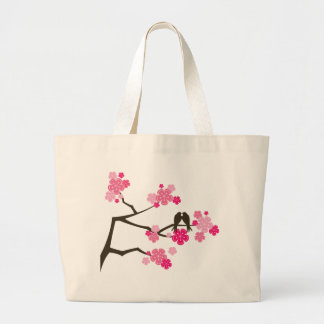 fatfatin Cherry Blossoms Love Birds Tote Bag