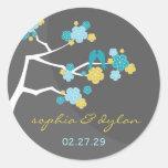 fatfatin Cherry Blossoms Love Birds Wedding Round Stickers