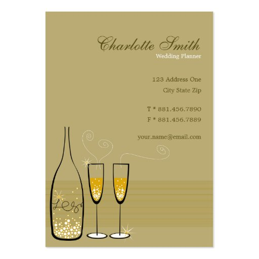 fatfatin Chic Golden Champagne Bubbles Business Card Template