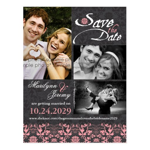fatfatin Damask Lace Charcoal Photo Save The Date Postcard