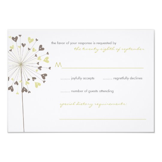 fatfatin Dandelions Love 04 Wedding RSVP Card