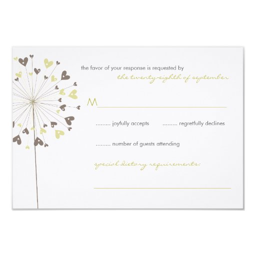 fatfatin Dandelions Love 04 Wedding RSVP Card Announcements