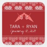 fatfatin Double Paper Cranes Sakura Wedding Sticke Square Stickers