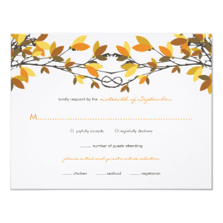 fatfatin Fall Autumn Knotted Love Trees RSVP Card