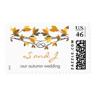 fatfatin Fall Autumn Knotted Love Trees Wedding Stamps
