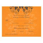 fatfatin Floral Flourish Charcoal Orange RSVP Card Custom Invite